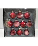 "Christmas MINI Glass Red White Peppermint Ornaments Decor 1.5"" BOX of 10 - $27.99"