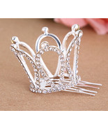 Small Girls Crown Tiara Hair Combs Clear Stone Crystal Mini Tiara Hair A... - €6,49 EUR