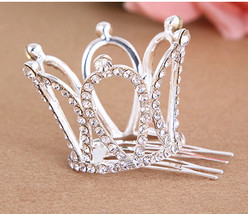 Small Girls Crown Tiara Hair Combs Clear Stone Crystal Mini Tiara Hair A... - $7.56