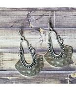 Silver Boho Earrings Hammered Metal Festival Bohemian Fashion Jewelry Gift - $14.99