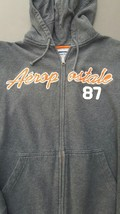Aeropostale Gray Hoodie Mens Small Front Zip Hooded Sweat Jacket Sz S - $24.75