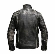Mens Vintage Motorcycle Retro Distressed Black Antique Biker Leather Jacket image 4