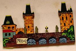 PRAHA Prague MAGNET Capital Czech Republic CHARLES BRIDGE Wood Souvenir ... - $9.64