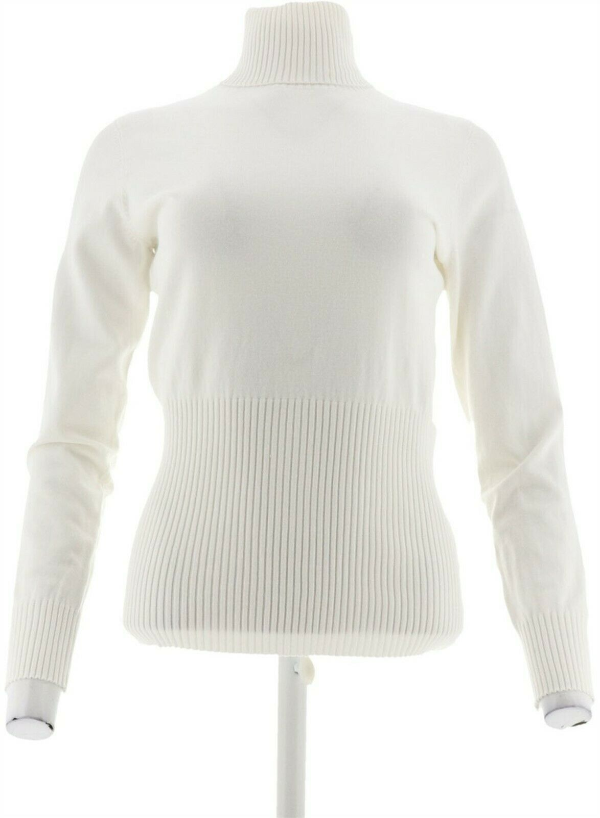 Primary image for Linea Louis Dell'Olio Whisper Knit Turtleneck Rib Winter White S NEW A295877