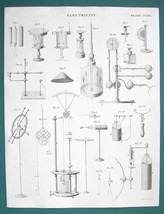 ELECTRICITY Electroscopes Conductors Meters - c. 1833 Fine Quality Print - $13.77