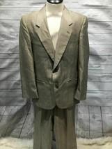 Cartier Men Suit set Blazer size 40r Pants 34x27 beige silk b82 - $127.15