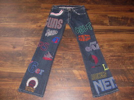 Hardwood Classics NBA Basketball Women's jeans size 7 Logos low rise blu... - $23.74