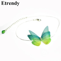 Invisible Colorful Butterfly Choker Necklace Women New Fashion Jewelry Cute Gift - $9.84