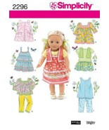Simplicity Sewing Pattern 2296 Doll Clothes, One Size  - $17.00