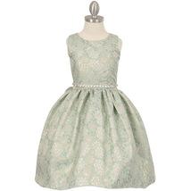 Sage Shiny Printed Jacquard Beaded Belt Flower Girl Bridesmaid Wedding D... - $52.99