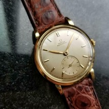 Omega Automatic Vintage Solid 18k Gold Swiss 32mm 1950s Mens Watch on Croc LV524 - $2,760.99