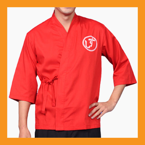 Primary image for red chef jackets coat sushi restaurant bar clothes uniform japanese women men