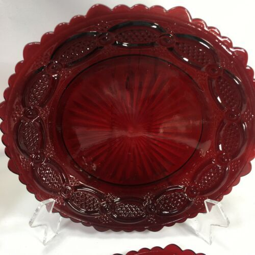 """Avon Cape Cod 5.5"""" Bread and Butter Dessert Salad Plates Ruby Red Set of 4"""