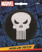 Marvel Comics The Punisher White Skull Logo Round Embroidered Patch NEW ... - $7.84