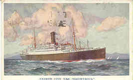 Steamship California The Anchor Line 1933 Vintage Post Card - $6.00