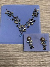 Vintage Avon Floral Blue Crystal Pearl Jewelry Set Necklace Earrings 2002 - $11.08