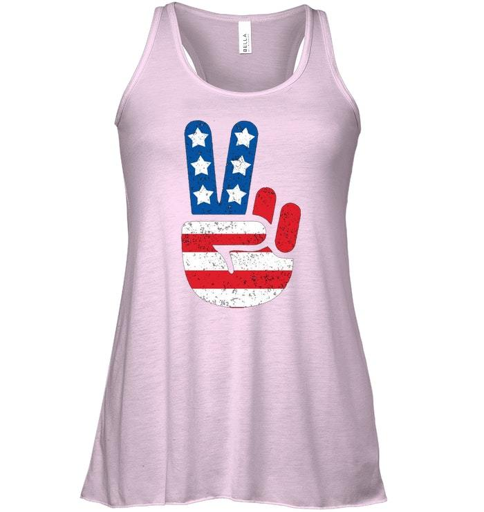 Cool American USA Flag Big Peace Sign Flowy Racerback Tank image 3