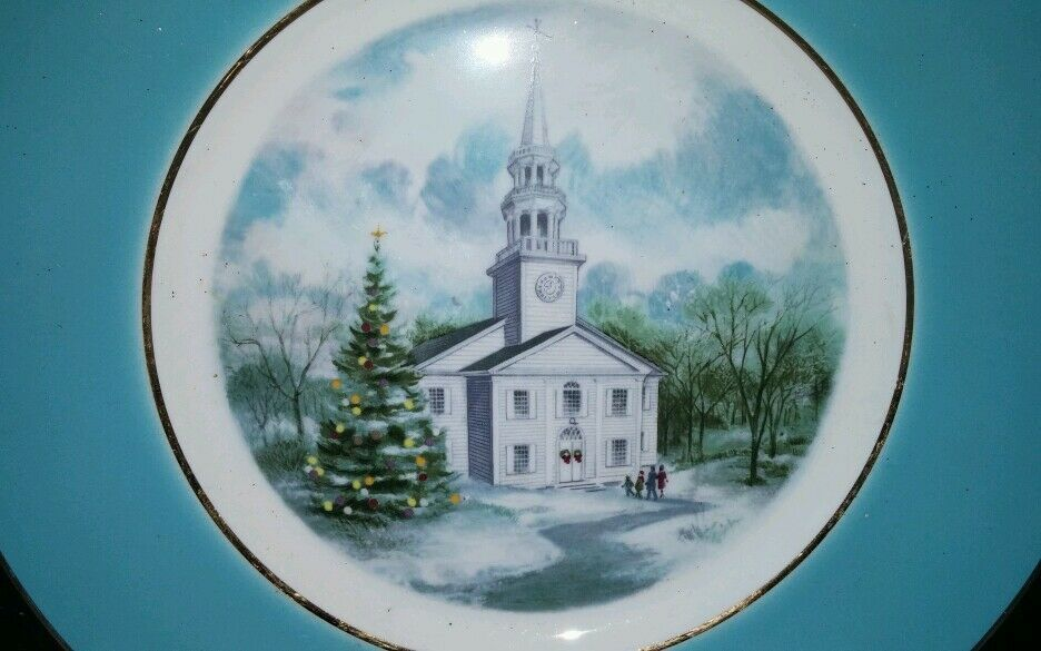 Avon Christmas Plate 1974 Country Church by Enoch Wedgwood