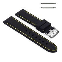 22mm Silicon Rubber Watch Strap Yellow Stitching Band Men or Women Silicone - $15.99