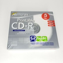 Memorex Blank Printable Recordable CD-R 5 Pack 52x 700mb 80min New/Sealed - $3.99