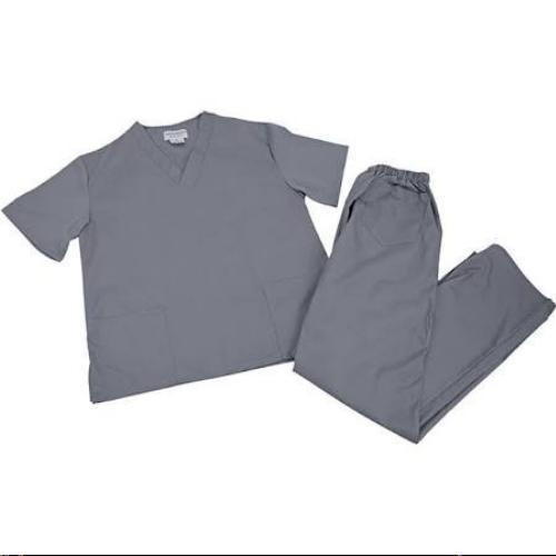 Scrub Set Grey V Neck Top Drawstring Pants 3XL Unisex Medical Natural Uniforms image 8