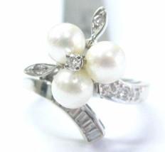 Fine Pearl Multi Shape Diamond White Gold Jewelry Ring 5.9mm .25CT - £674.75 GBP