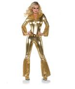 HOT PANTS DISCO GOLD JUMPSUIT ADULT HALLOWEEN COSTUME WOMEN'S SIZE LARGE - $38.81