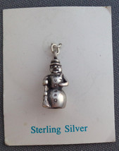Vintage Sterling Silver Snowman w Hat & Broom Charm Unused on Original C... - $19.79