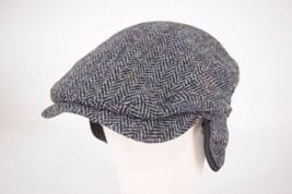 Wigens NWT Harris Tweed 100% Wool Newsboy Cap in Black & Gray Size 59, 7... - $119.99