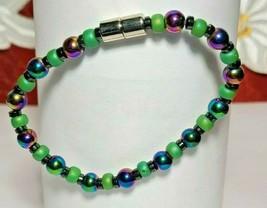 Bracelet Magnetic Hematite Clasp Single Strand 7 inch - Single Strand  (MAG-012)