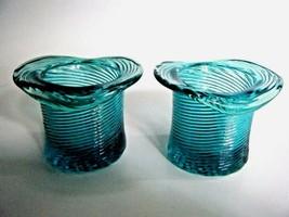 Avon American Heirloom Teal Green Swirl Glass Hat Candle Holder Vase Set... - $9.85