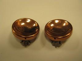 CLIP EARRINGS Renoir copper circle clip earrings button style - $14.85