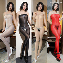 Women 8D Oil Shiny Glossy Pantyhose Body Stockings Tights Crotchless Bodysuit - $11.96+