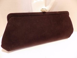 "Vintage Black Evening Bag Clutch Faceted ""Gem"" Clasp Circa 1950s - $16.82"