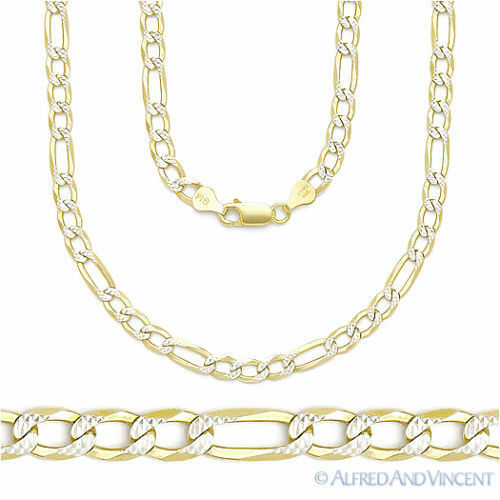 Italy .925 Sterling Silver & 14k Yellow Gold 4mm Figaro Link Chain Pave Necklace