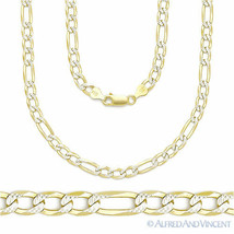 Italy .925 Sterling Silver & 14k Yellow Gold 4mm Figaro Link Chain Pave Necklace image 1