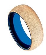 Tungsten Carbide Two Tone Sandblasted Ring - Blue Color - Gold - Price f... - $49.99