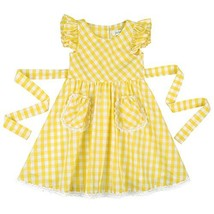 Flofallzique Yellow Gingham Summer Girls Cotton Dress for 1-8 Y Toddler ... - $25.98