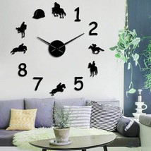 Cowboys Equestrian DIY Large Number Wall Clock Modern Horse Riding Watch... - $35.64+