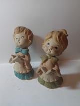 Vintage European Flower Market ceramic boy & girl choir figurines - $19.82