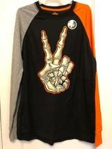 NEW BOYS Happy Halloween Hand GLOW S Black LONG Sleeve T-shirt  Size XXL... - $14.84