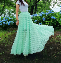 Green Ruffle Tiered Tulle Skirt Layered Long Bridal Wedding Prom Tulle Skirt image 9