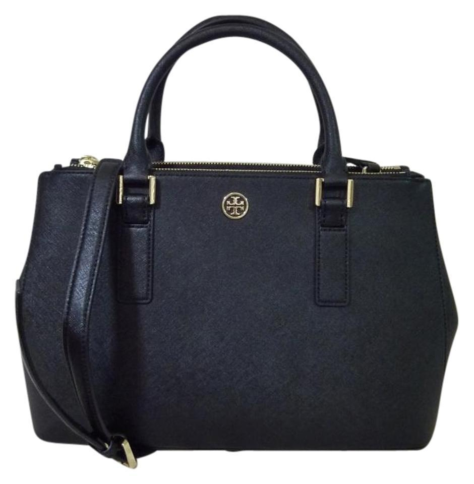 Tory Burch Black Saffiano Leather Robinson Mini Double-Zip/EW Tote