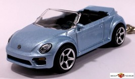 Htf Key Chain 2017~2018~2019 Blue Vw New Beetle Volkswagen Convertible Cabriolet - $35.98