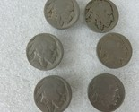 Lot of 6 Vintage Indian Head 5 Cent Button Covers Old Authentic Buffalo Nickels