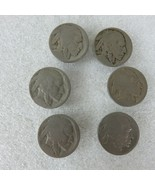 Lot of 6 Vintage Indian Head 5 Cent Button Covers Old Authentic Buffalo Nickels  - £29.19 GBP