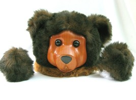 Vtg Carved Wooden Bear Head Face Plush with Paws for Craft Supply Rober... - $28.71
