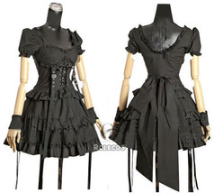 Lolita Punk Gothic Princess Vintage Dress Short Layered Dress Cosplay Co... - $45.99