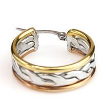 Unique Twisted Tri-Color Silver, Gold & Rose Tone Hoop Earrings- United Elegance image 4