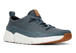 Mens Clarks Triactive Run Lace Up Sneakers - Blue Nubuck [26132275] - $87.99